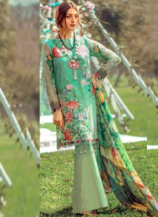 Green Pure Cotton Pakistani Designer Suit Riwayat By Kilruba SC018455