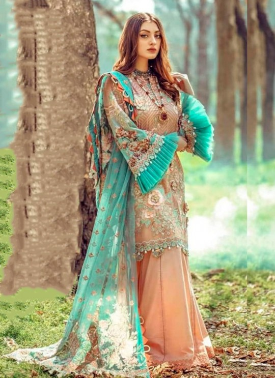 Peach Pure Cotton Pakistani Designer Suit Riwayat By Kilruba SC018458