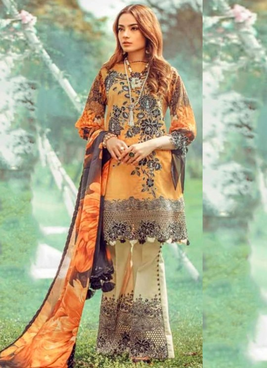 Yellow Pure Cotton Pakistani Designer Suit Riwayat By Kilruba SC018460