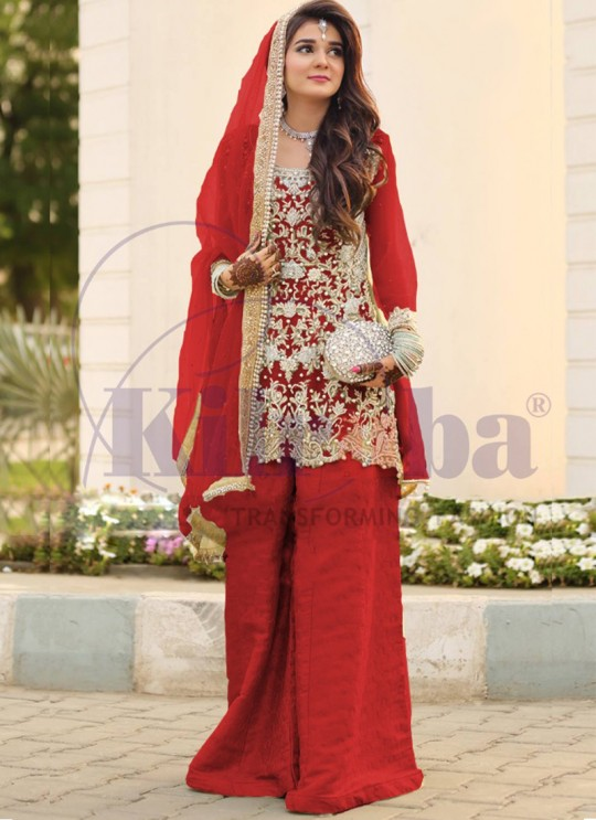 Red Net Bridal Pakistani Suit 65 Colours By Kilruba SC018314