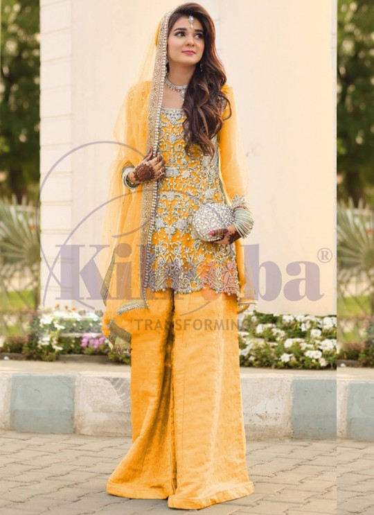 Yellow Net Bridal Pakistani Suit 65 Colours By Kilruba SC018700