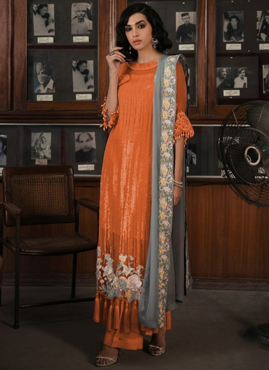 Orange Georgette Pakistani Straight Cut Suit 705 Colours By Kilruba SC017593