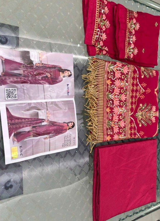 Maroon Georgette Eid Wear Pakistani Suit 78 Colours By Kilruba SC018422