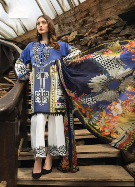 Afrozeh Lawn 20 By Kilruba 28004 Blue Cotton Designer Pakistani Lawn Suit