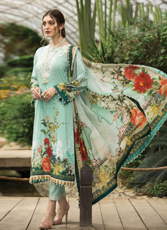 Afrozeh Lawn 20 By Kilruba 28005 Sea Green Cotton Designer Pakistani Lawn Suit