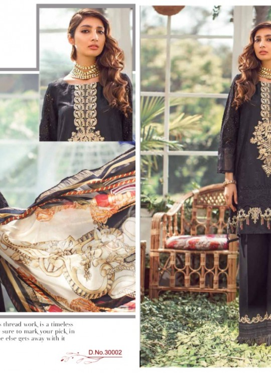 Elaf By Kilruba 30002Set Black Pure Lawn Cotton Designer Pakistani Suit