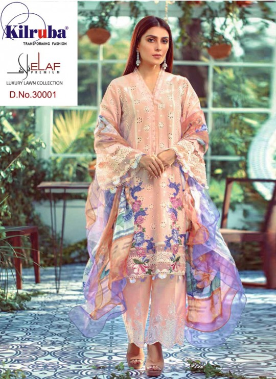 Elaf By Kilruba 30001 Set Peach Pure Lawn Cotton Designer Pakistani Suit