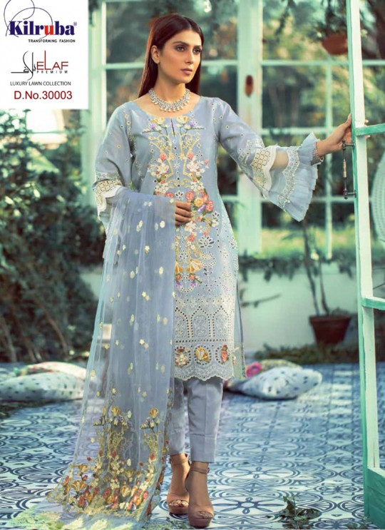 Elaf By Kilruba 30003Set Grey Pure Lawn Cotton Designer Pakistani Suit