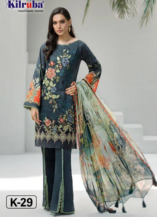 Iris Lawn Vol 20 K-29 By Kilruba Blue Party Wear Pakistani Suit SC-017061