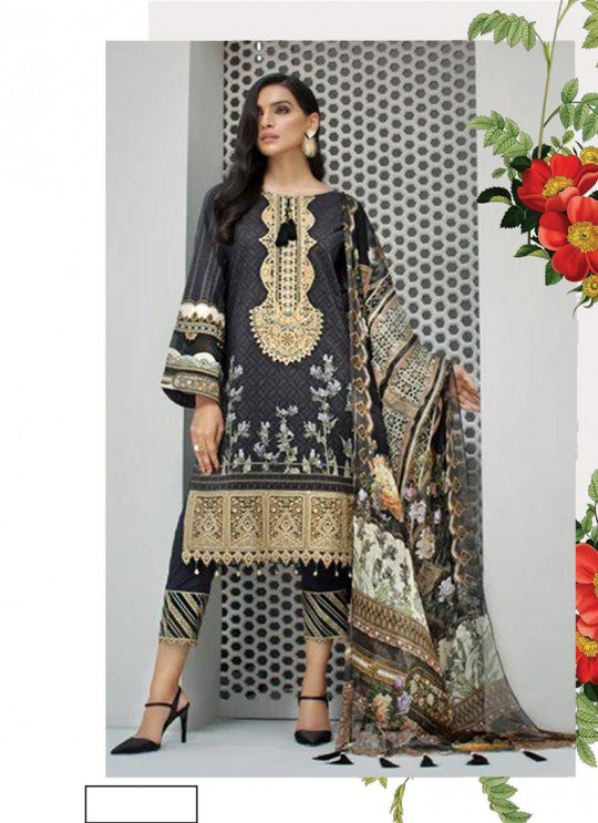 Iris Lawn Vol 20 K-30 By Kilruba Black Party Wear Pakistani Suit SC-017070
