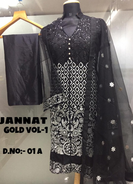 Black Net Embroidered Pakistani Suits Jannat Gold Vol 1 01A Color By Kilruba SC/013608