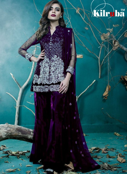 Purple Net Embroidered Pakistani Suits Jannat Gold Vol 1 01C Color By Kilruba SC/013610