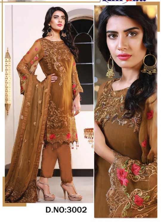 Brown Georgette Embroidered Pakistani Suits Jannat Royal Collection 3002 By Kilruba  SC/013263