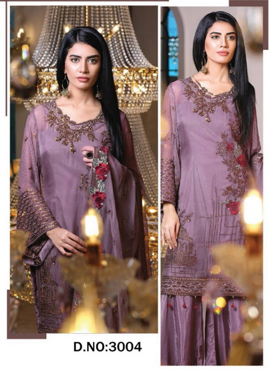 Lavender Georgette Embroidered Pakistani Suits Jannat Royal Collection 3004 By Kilruba  SC/013265