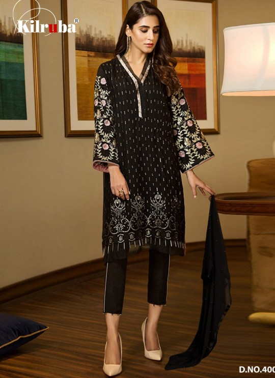 Black Georgette Embroidered Pakistani Suits Summer Dream 4002 By Kilruba