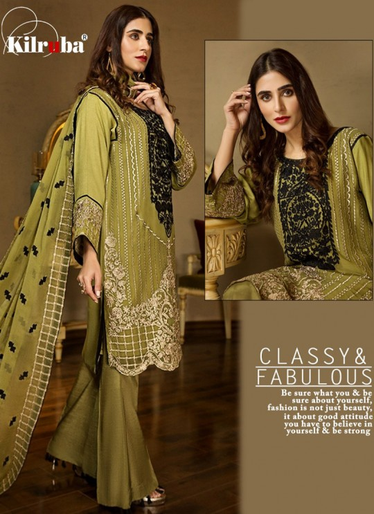 Green Georgette Embroidered Pakistani Suits Summer Dream 4001 By Kilruba