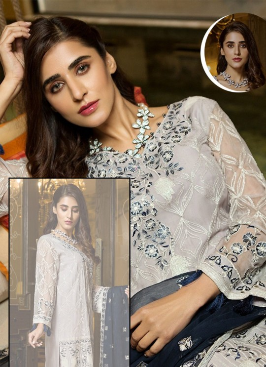 Off White Georgette Embroidered Pakistani Suits Summer Dream 4006 By Kilruba