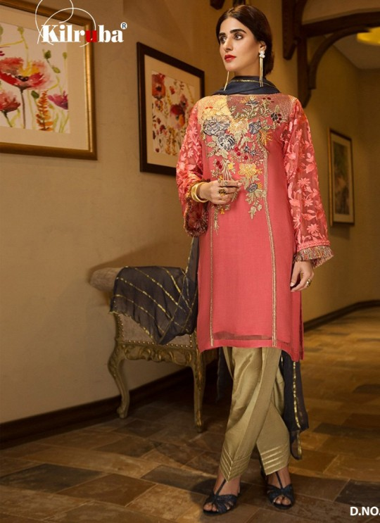 Pink Georgette Embroidered Pakistani Suits Summer Dream 4005 By Kilruba