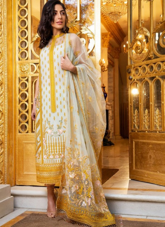 Blue Net Embroidered Pakistani Suits Jannat Eid Collection 6001 Set By Kilruba