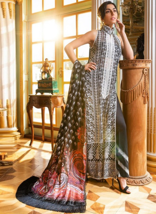 Grey Faux Georgette Embroidered Pakistani Suits Jannat Eid Collection 6004 Set By Kilruba