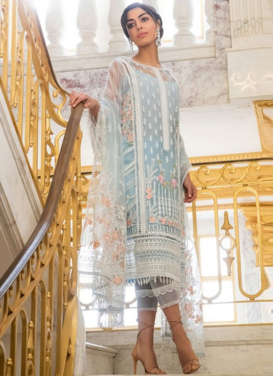 Ice Blue Net Embroidered Pakistani Suits Jannat Eid Collection 6006 Set By Kilruba