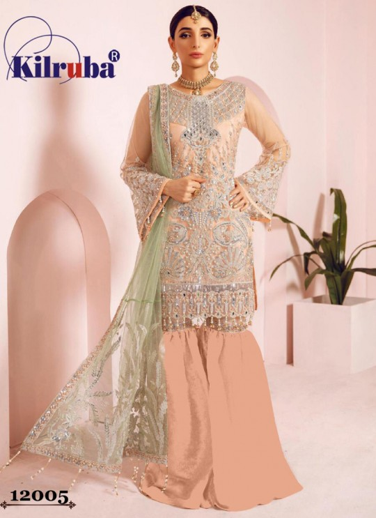 Jannat Freesia 12005 By Kilruba Peach Wedding Wear Pakistani Suit SC-017391