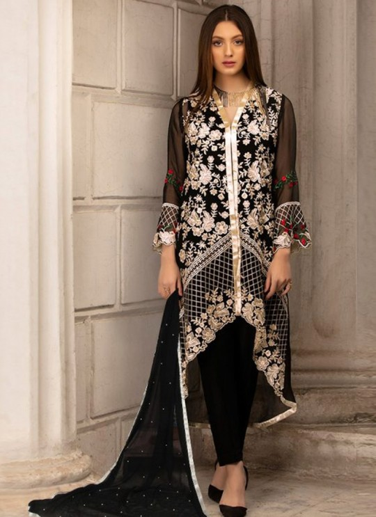 Georgette Embroidered Pakistani Suit in Black Color For Eid Jannat Summer Gold 5001 By Kilruba  SC/014453