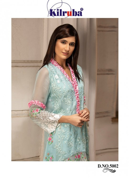 Georgette Embroidered Pakistani Suit In Ice Blue Color For Eid Jannat Summer Gold 5002 By Kilruba SC/014454