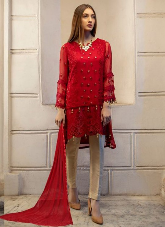 Red Georgette Embroidered Pakistani Suits For Eid Jannat Summer Gold 5003 By Kilruba SC/014455