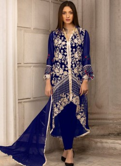 cc5a3bc921 Royal Blue Georgette Embroidered Pakistani Suits For Eid Jannat Summer Gold  5004 By Kilruba SC/