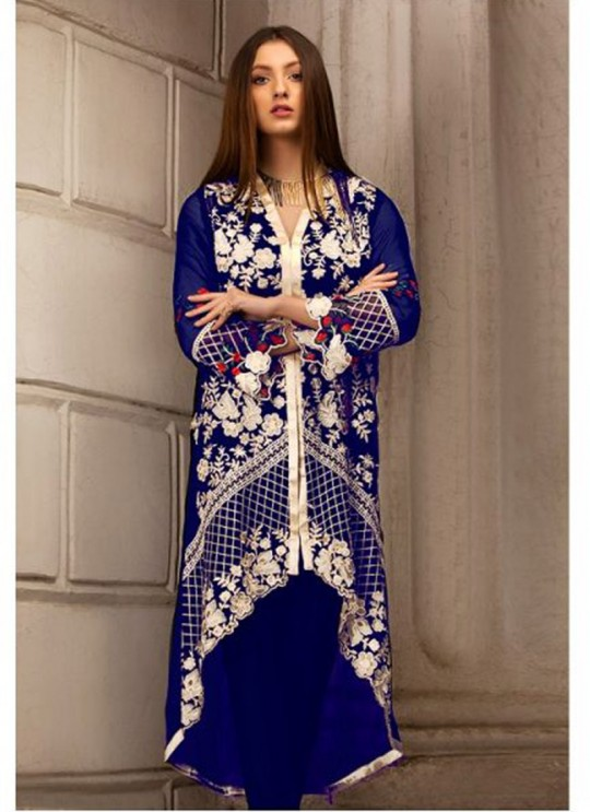 Royal Blue Georgette Embroidered Pakistani Suits For Eid Jannat Summer Gold 5004 By Kilruba  SC/014456