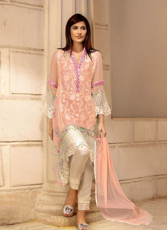 Peach Georgette Embroidered Pakistani Suits For Eid Jannat Summer Gold 5005 By Kilruba SC/014457