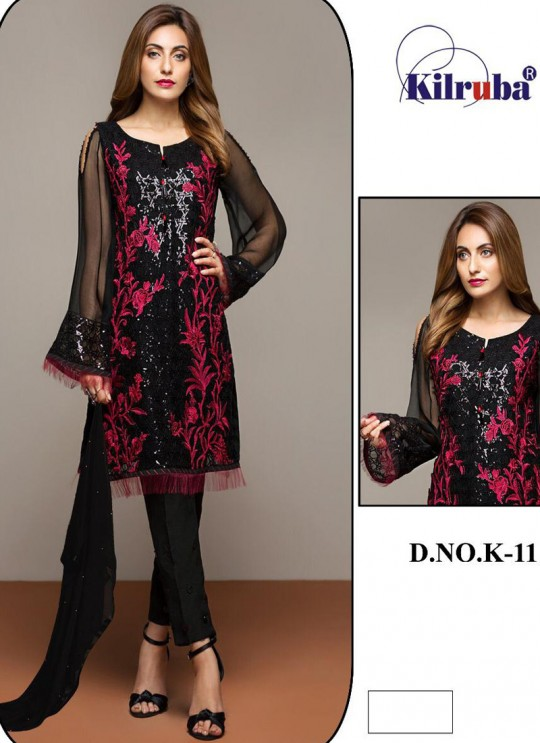 K 11 Colors K-11D By Kilruba Pink Designer Pakistani Suit SC-016093