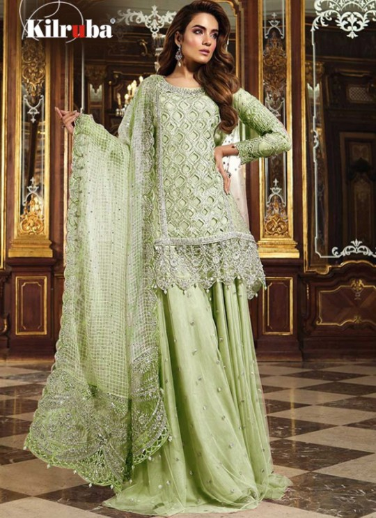 K 12 Colors K-12J By Kilruba Pista Green Reception Wear Pakistani Suit SC-016884