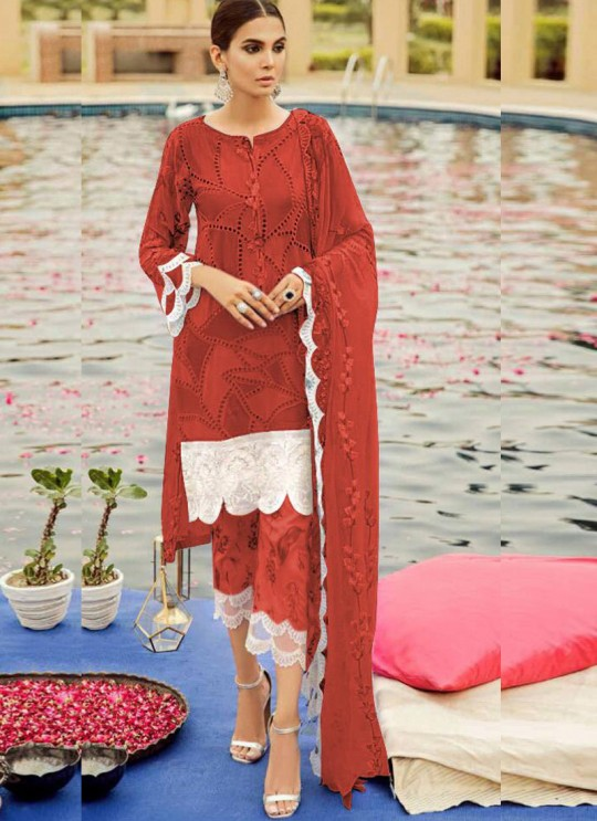 Red Cambric Cotton Eid Wear Pakistani Suit 57 Colours By Kilruba SC018689