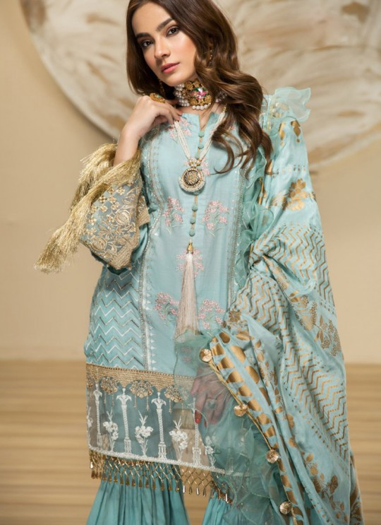 Turquoise Cambric Cotton Pakistani Suit Jannat Lawn Editions 8002 By Kilruba SC/016104