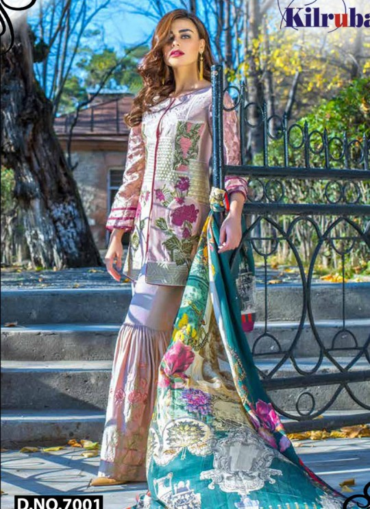 Pink Faux Georgette Embroidered Party Wear Pakistani Suits Jannat Aafreen 7001 By Kilruba