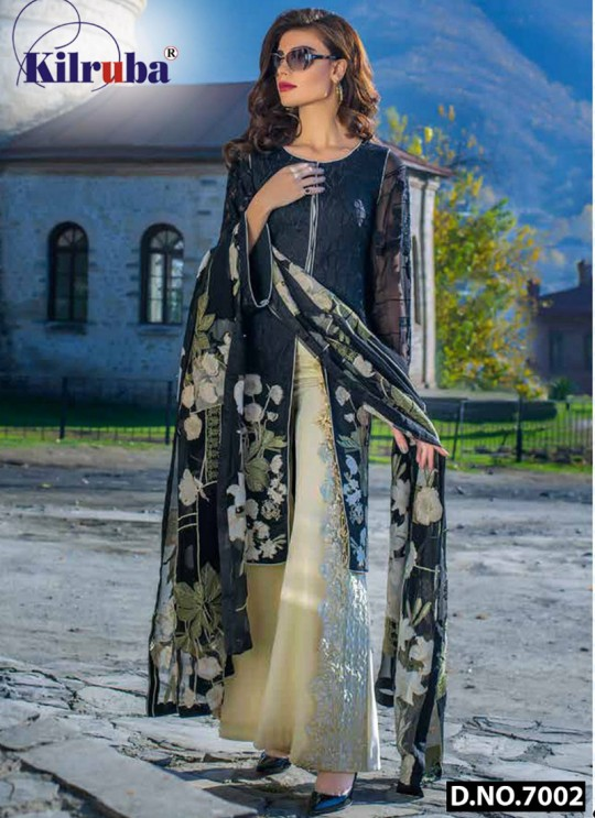 Black Faux Georgette Embroidered Party Wear Pakistani Suits Jannat Aafreen 7002 Set By Kilruba