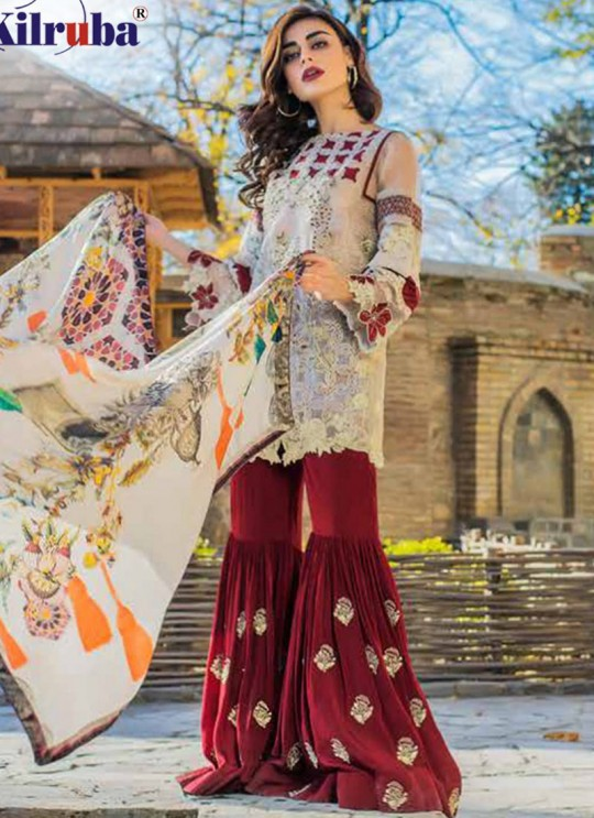Cream Faux Georgette Embroidered Party Wear Pakistani Suits Jannat Aafreen 7003 By Kilruba