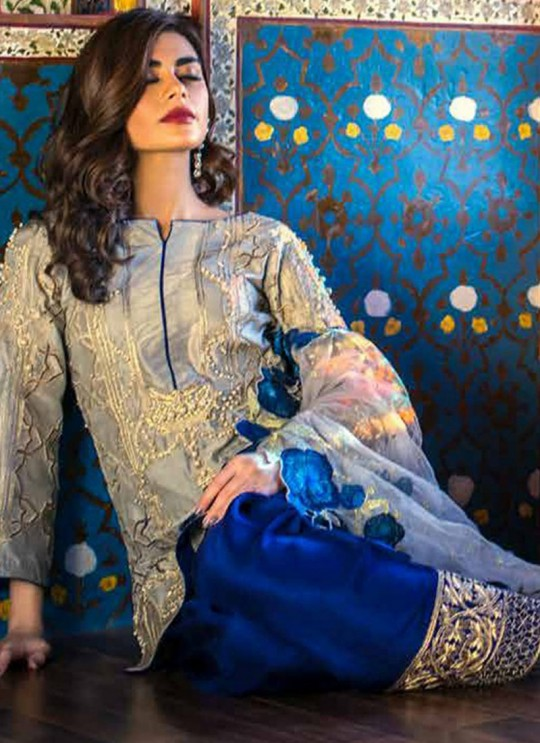 Beige Mulberry Silk Embroidered Party Wear Pakistani Suits Jannat Aafreen 7005 Set By Kilruba