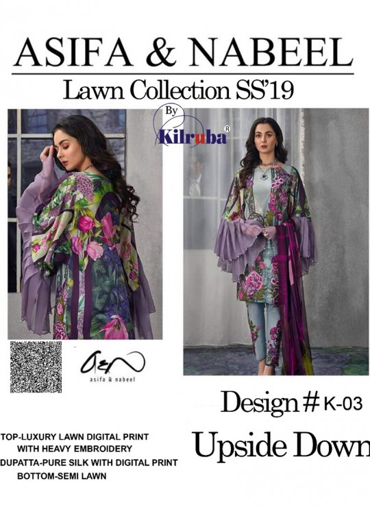 Grey Lawn Cotton Party Wear Pakistani Suit K03 By Kilruba SC/016281