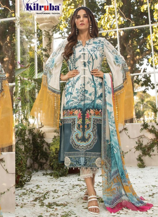 Multicolor Lawn Eid Wear Pakistani Suit Mprint Lawn Collection 2020 25002 By Kilruba