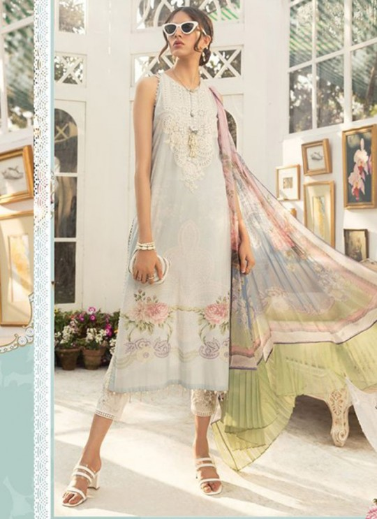 Off White Lawn Eid Wear Pakistani Suit Mprint Lawn Collection 2020 25003 By Kilruba