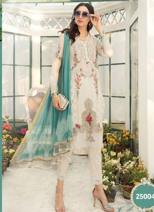 Off White Lawn Eid Wear Pakistani Suit Mprint Lawn Collection 2020 25004 By Kilruba