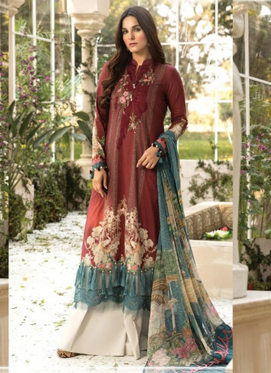 Wine Lawn Eid Wear Pakistani Suit Mprint Lawn Collection 2020 25008 By Kilruba