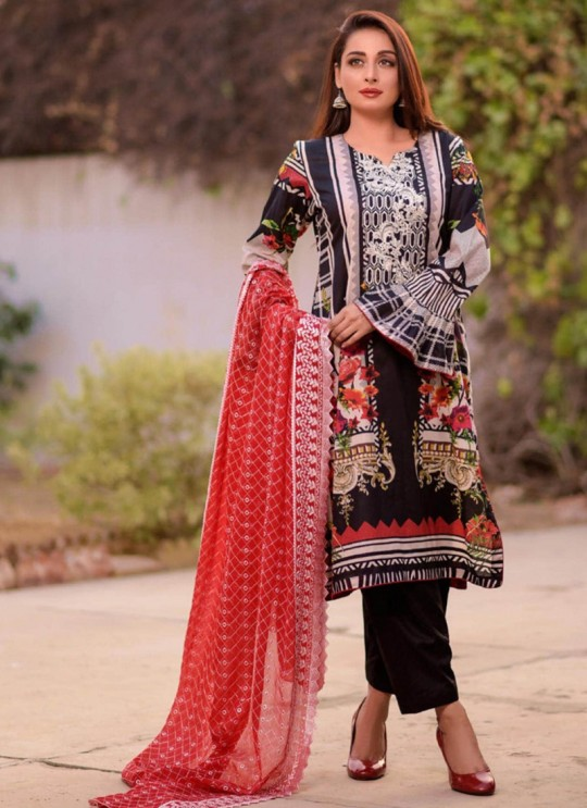 Rang Rasiya Royal Soiree Dupatta By Kilruba 29001 Black Cotton Party Wear Pakistani Lawn Suit