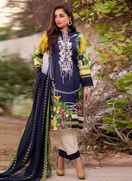 Rang Rasiya Royal Soiree Dupatta By Kilruba 29003 Blue Cotton Party Wear Pakistani Lawn Suit