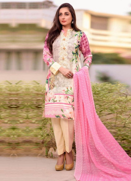 Rang Rasiya Royal Soiree Dupatta By Kilruba 29004 Cream Cotton Party Wear Pakistani Lawn Suit