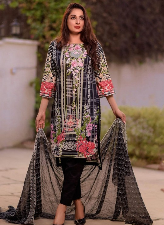 Rang Rasiya Royal Soiree Dupatta By Kilruba 29005 Black Cotton Party Wear Pakistani Lawn Suit