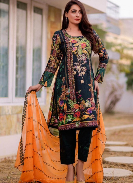 Rang Rasiya Royal Soiree Dupatta By Kilruba 29007 Blue Cotton Party Wear Pakistani Lawn Suit